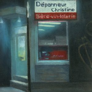 Dépanneur: Christine,  8x5¾ inches, oil on panel, 2017