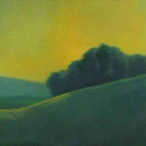 Hill with Yellow Sky, 10x10 inches, oil on panel, 2016