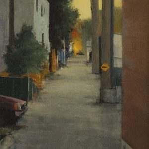 Lanes: Burning, 20¾x6¾ inches, oil on panel, 2015