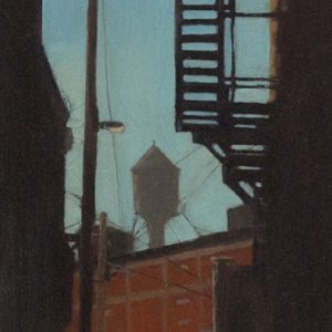 Lanes: Water Tower, 21x7 inches, oil on panel, 2017