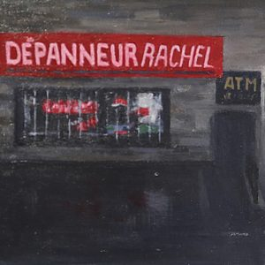 Dépanneur: Rachel, 7x10½ inches, oil on panel, 2018
