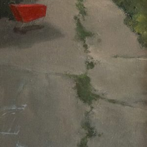 Lanes: Cart, 20x7 inches, oil on panel, 2018