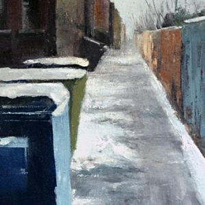 Lanes: Bins, 29x10 inches, oil on canvas, 2019