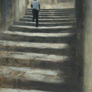 In Scicli, 21x7 inches, oil on panel, 2021