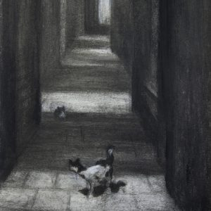 Venetian Cats, 10x8 inches, mixed media on paper, 2021